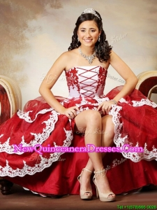 Modest Wine Red and White Strapless Quinceanera Dress with Appliques and Ruffled Layers