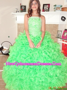 New Arrivals Beaded and Ruffled Strapless Quinceanera Dress in Spring Green
