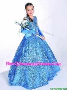 New Style Straps Big Puffy Little Girl Pageant Dress with Sequins