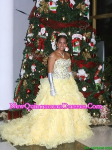 Popular Beaded and Ruffled Light Yellow Quinceanera Dress with Brush Train