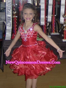 Popular Ruffled Layers and Beaded Little Girl Pageant Dress with Straps