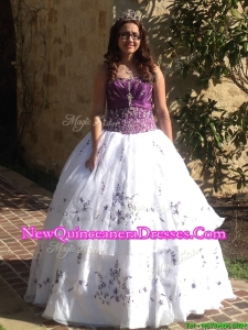 Beautiful Beaded and Applique Quinceanera Dress in Purple and White