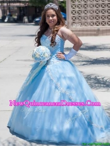 Exquisite Beaded Tulle Quinceanera Dress in Baby Blue