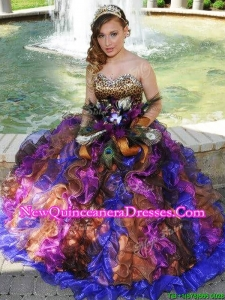 Fashionable Leopard Rainbow Quinceanera Dress with Beading and Ruffles