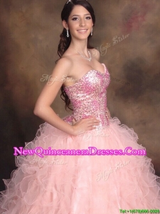 Lovely Big Puffy Watermelon Red Quinceanera Dress with Sequins and Ruffles