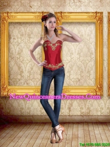 2015 Cute Sweetheart Wine Red Corset with Embroidery