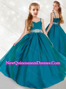 2016 Discount Spaghetti Straps Turquoise Little Girl Pageant Dress with Beading and Ruching