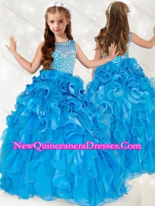 2016 Exclusive Beaded and Ruffled Little Girl Pageant Dress with See Through Scoop