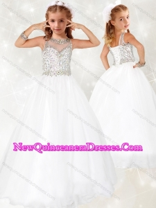 2016 Lovely Beaded White Little Girl Pageant Dress with See Through Scoop