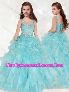 2016 Lovely Beaded and Ruffled Big Puffy Little Girl Pageant Dress with Straps