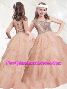 2016 New Style Beaded and Ruffled Layers Little Girl Pageant Dress with Asymmetrical Neckline