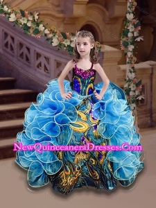 2016 Straps Blue Little Girl Pageant Dress with Beading and Ruffles