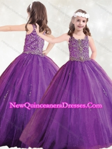 Cute Straps Big Puffy Little Girl Pageant Dress with Beading and Appliques