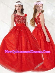 Cute Asymmetrical Neckline Red Little Girl Pageant Dress with Beading