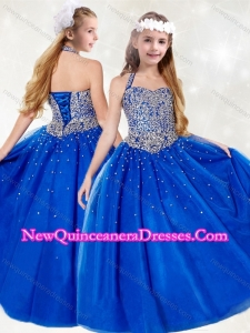 Cute Halter Top Beading Little Girl Pageant Dress in Royal Blue