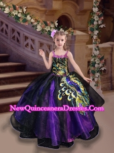 Cute Straps Peacock Applique Little Girl Pageant Dress in Purple