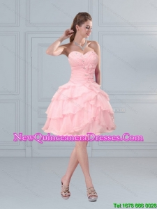 2015 Cute Baby Pink Sweetheart Quinceanera Dama Dresses with Ruffled Layers and Beading