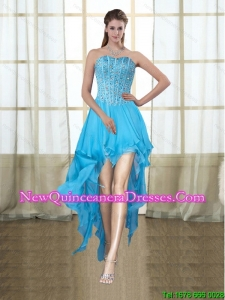 2015 Fashionable Sweetheart High Low Baby Blue Dama Dresses with Beading
