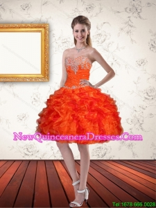 2015 Gorgeous Sweetheart Orange Dama Dresses with Ruffles and Appliques