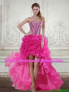 2015 Hot Pink High Low Sweetheart Dama Dresses with Beading and Ruffles
