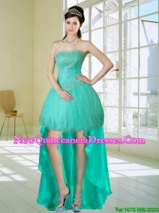 Luxurious Apple Green Strapess High Low Dama Dresses with Embroidery and Beading