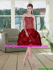 Wine Red Pretty Strapless 2015 Quinceanera Dama Dresses with Embroidery