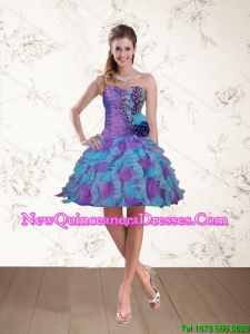 2015 Cheap Spring Sweetheart Beaded Multi Color Dama Dresses with Appliques