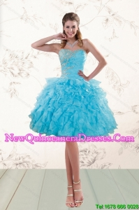 2015 Fashionable Baby Blue Beaded Dama Gown with Ruffles