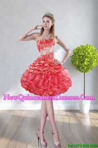 2015 Fashionable Strapless Watermelon Red Dama Dresses With Appliques and Ruffles