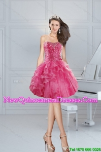 2015 Gorgeous Pink Sweetheart Dama Dresses with Beading and Ruffles
