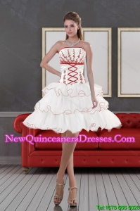 2015 Impressive Strapless Quinceanera Dama Dresses with Embroidery and Ruffle layers