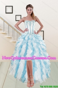 2015 Most Popular Sweetheart Dama Dresses with Appliques and Ruffles