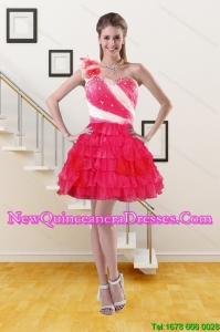 2015 One Shoulder Quinceanera Dama Dresses with Ruffled Layers and Hand Made Flower