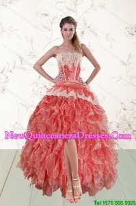 2015 Perfect High Low Strapless Dama Dresses in Watermelon