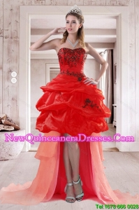 2015 Pretty Sweetheart Dama Dresses with Embroidery and Pick Ups