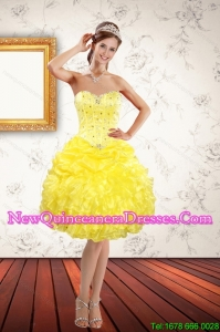 Beautiful Sweetheart Beading Yellow Quinceanera Dama Dresses for 2015 Spring