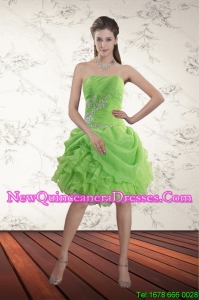Brand New Spring Green Strapless Dama Dresses with Ruffles and Beading