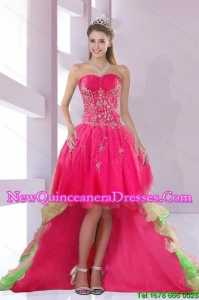 Custom Made Sweetheart High Low Quinceanera Dama Dresses for 2015
