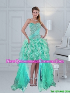 Dynamic 2015 High Low Sweetheart Beading Dama Dress in Apple Green