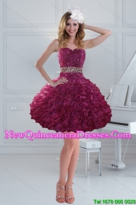 Fashionable 2015 Beading Strapless Dama Dresses with Ruffles