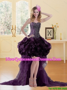 High Low Burgundy Dama Dress with Ruffles and Beading for 2015