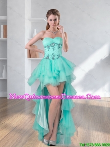 High Low Turquoise Sweetheart Dama Dresses with Appliques for 2015
