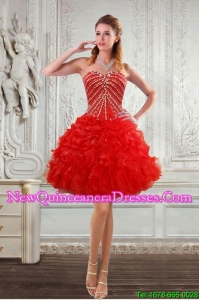 New Style Sweetheart Dama Dresses with Beading and Ruffles