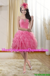 Pretty Sweetheart 2015 Dama Dresses with Ruffles and Beading
