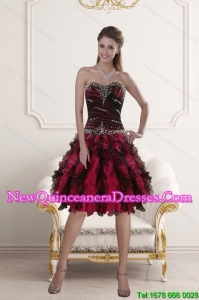 Remarkable Sweetheart Multi Color Dama Dresses with Ruffles and Beading