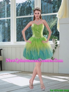 Romantic Beading Multi Color Sweetheart Dama Dress with Appliques