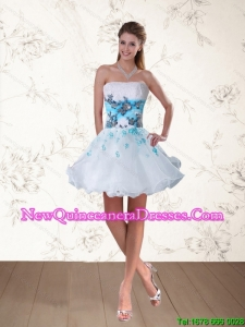 Strapless Multi Color Dama Dress with Appliques and Beading for 2015