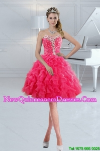 The Most Popular Sweetheart 2015 Cute Dama Dresses with Ruffles and Beading