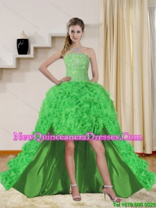 2015 Cheap Spring Green High Low Dama Dresses with Beading