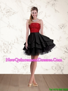 2015 Cheap Strapless Beading Dama Dresses in Red and Black